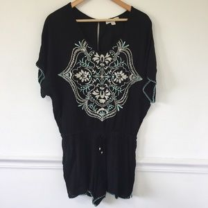 LoveStitch Embroidered Cover Up Romper
